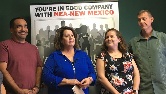 From left, LCPS teacher David Morales, NEA-NM Vice President Mary Parr-Sánchez , NEA-Las Cruces President Wendy Alberson, and teacher Matt Reiter at an NEA-Las Cruces press conference on August 2, 2018.