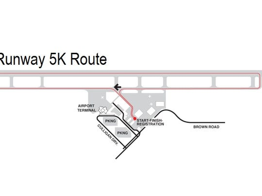 The route of the second annual Runway 5k, at the Tompkins Regional Airport.