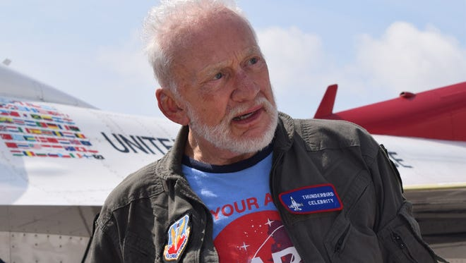 Buzz Aldrin became the oldest person to fly with the Thunderbirds, riding along for a 20 minute flight at the Melbourne Air and Space Show on Sunday morning.