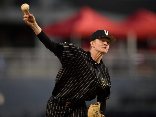 Vanderbilt pitcher Chandler Day (27) throws against