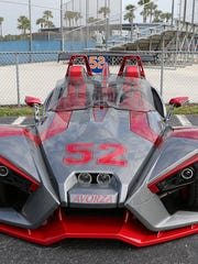 A front shot of Yoenis Cespedes' Polaris Slingshot, which has his No. 52 painted on the hood and carries a base price around $25,000.