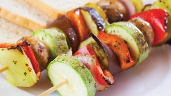 Farm fresh veggie skewers with rosemary dijon vinaigrette