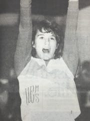 A Union County cheerleader led the home crowd during the Indians win over Holy Name in January of 1991.
