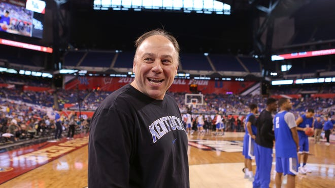 Kentucky assistant coach Barry Rohrssen smiles at the ESPN announcers during Final Four practice Friday afternoon at Lucas Oil Stadium. By Matt Stone, The C-J April 3, 2015.