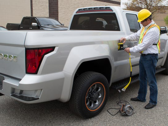 A test model of the Workhorse W-15 electric pickup,