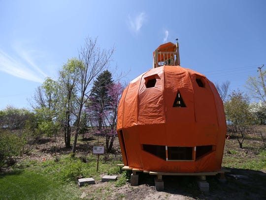 The Great Pumpkin tree house by Carroll Marty at Reiman Gardens in Ames on Tuesday, May 5, 2015. The house is large enough to walk through and has a crow's nest at the top for a view of the gardens.