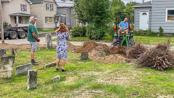 The Corning Lions Club recently received help to permanently remove overgrown shrubs from the historic Gorton Cemetery, which the club has cared for for more than 30 years.