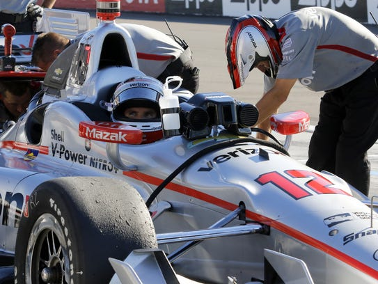 Will Power waits in the pits as hisTeam Penske Dallara