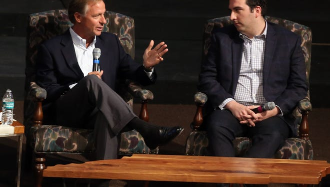 Governor Bill Haslam and Michael Wear, a White House staffer during President Obama's first term who led faith outreach for his re-election campaign, participate a panel discussion on the idea of Christianity and politics at Christ Presbyterian Church Sunday November 6, 2016.