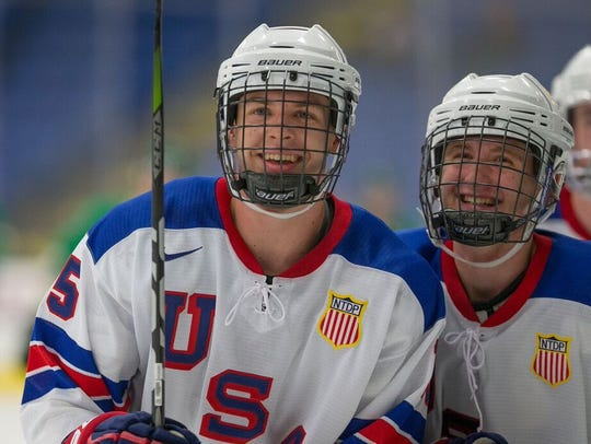 Birmingham's Bode Wilde (left) is ticketed for selection in the middle of the first round of this weekend's NHL Entry Draft in Dallas.