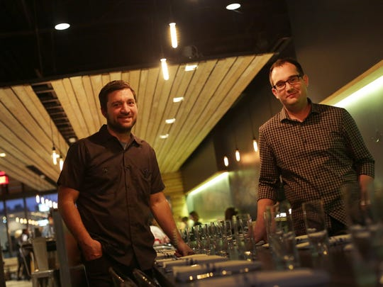 Selden Standard's executive chef and partner Andy Hollyday, left, and partner Evan Hansen are photographed at their recently opened restaurant in Detroit on Monday.