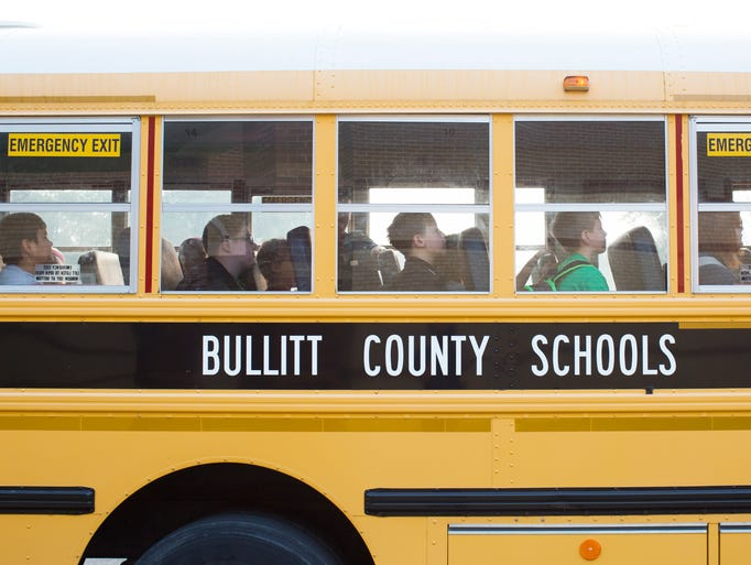 Students arrive for the first day of classes at Zoneton Middle School in Bullitt County.