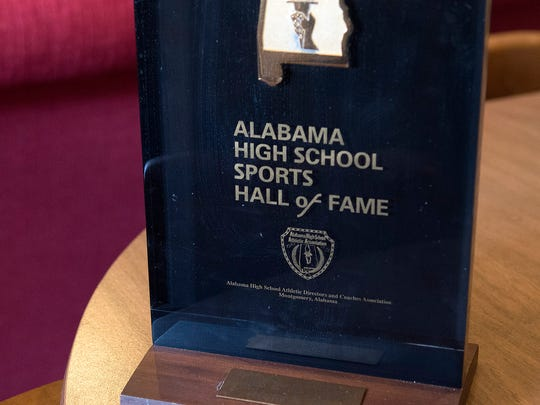 Jim Chafin's award from the Alabama High School Sports Hall of Fame is pictured at his home in Tyler Tuesday Feb. 21, 2017. Chafin coached football at Robert E. Lee High School. Now age 88, he lives with his wife Joan in Tyler, Texas.