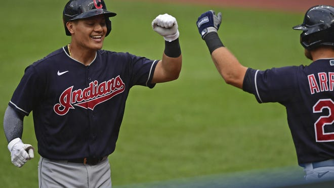 Yu Chang is congratulated by Christian Arroyo after hitting a home run during a simulated game at Progressive Field on Friday, July 10, 2020, in Cleveland.
