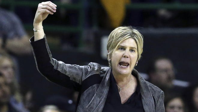 Texas Tech head coach Marlene Stollings reacts to a play against Baylor on Jan. 25, 2020, in Waco Texas.