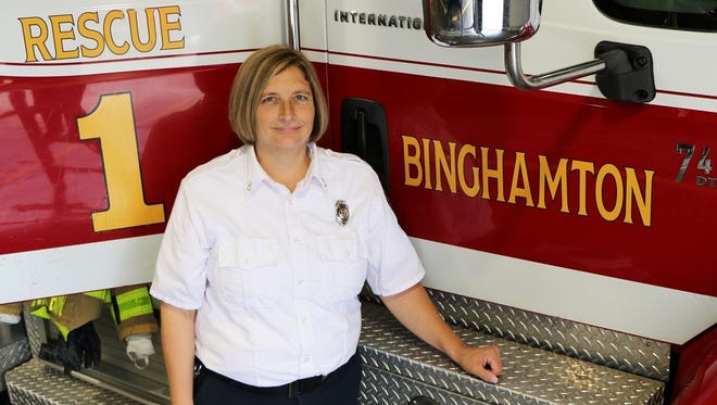 Capt. Christina Broderick is the highest-ranking female firefighter in the department's history.