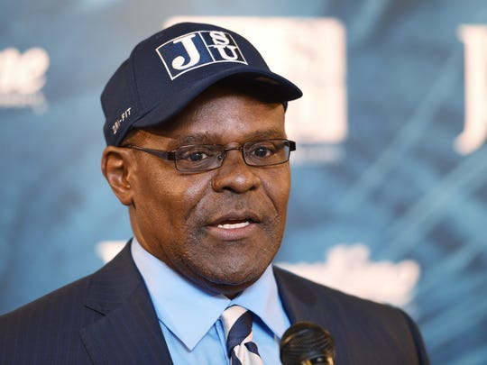 Tony Hughes addresses reporters and Jackson State University supporters at a press conferenceto introduce him as the school's new head football coach on Monday. Hughes comes to JSU from Mississippi State University where he served as an assistant coach.