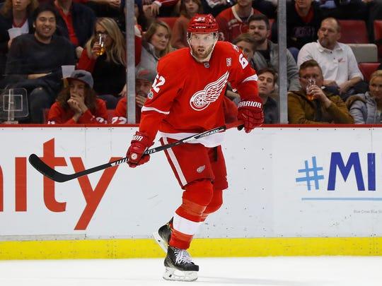 Detroit Red Wings left wing Thomas Vanek skates against the New York Islanders during a game on Feb. 21, 2017, in Detroit.