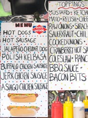 The menu and toppings are displayed at Hot Diggidy Dog in Chatsworth.   06.23.17