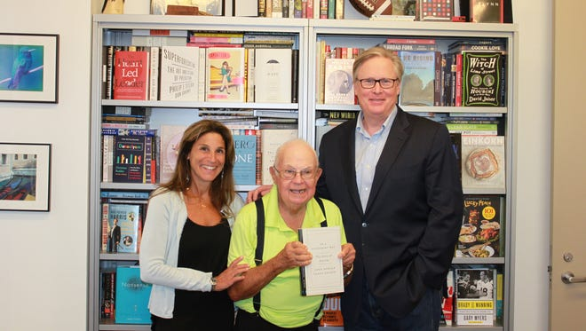 """Donald Triplett of Forest, center, was the first person in history to be diagnosed with autism. Caren Zucker, left, and John Donvan, in their book """"In a Different Key,"""" share his story as part of their historical look at autism."""