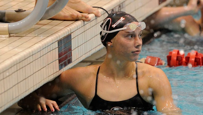 Hali Flickinger, pictured in this file photo from 2014, returned to the pool for her first meet Saturday since the Rio Olympics.