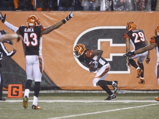 Cincinnati Bengals players celebrate the interception
