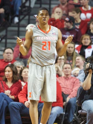 Illinois Fighting Illini guard Malcolm Hill (21) reacts during the game against the Nebraska Cornhuskers in the second half at Pinnacle Bank Arena. Illinois won 73-57.
