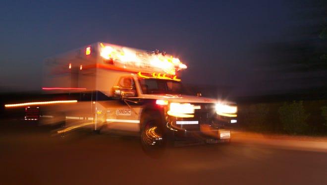 Motion blur of speeding ambulance