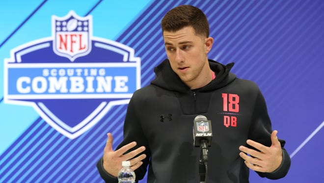 Former Western Kentucky and South Florida quarterback Mike White speaks Friday at the NFL scouting combine. March 2, 2018