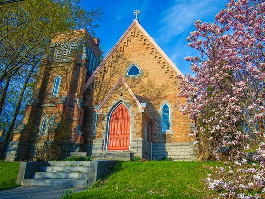 Aurora, N.Y.: Built in 1870, this stately church-turned-mansion