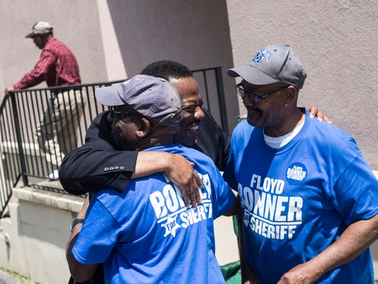 May 01, 2018 - Floyd Bonner, center, hugs Roderick