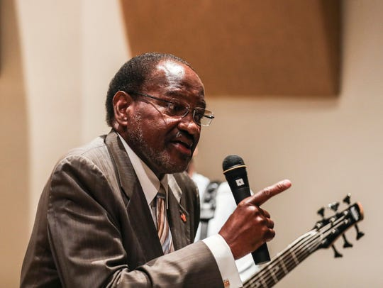 July 25, 2018 - Al Bell, co-owner of Stax Records, speaks during a ceremony where Stax founder Jim Stewart donated his fiddle to the Stax Museum of American Soul Music.