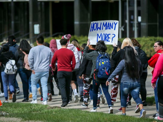 Hundreds of Iowa students walked out of school Friday,