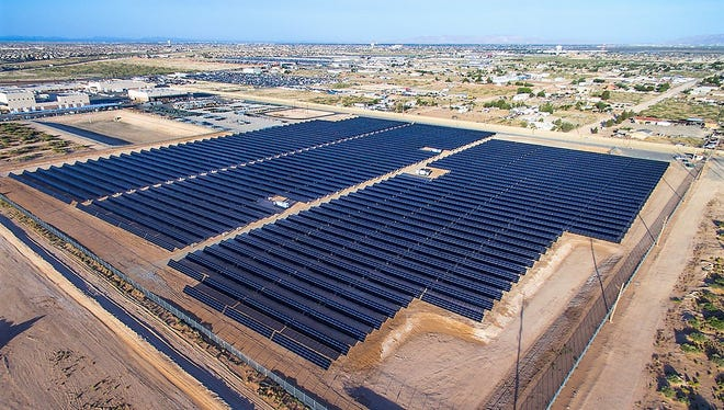 The 5-megawatt solar plant to be built on Holloman Air Force Base will look similar to El Paso Electric's 3-megawatt community solar plant, pictured here, in El Paso County.