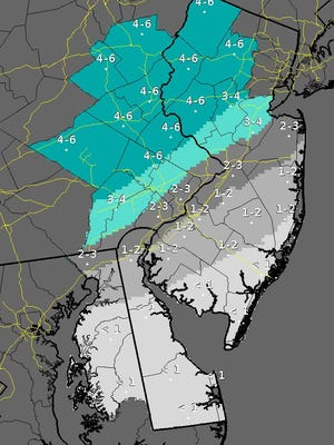 Total snow forecast for Monmouth, Ocean and other New Jersey counties.