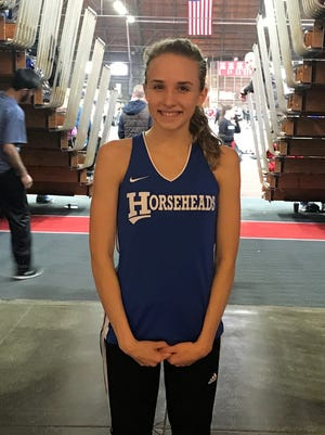 Maddy Klein of Horseheads won the 1,500 and 3,000 on Saturday at the Section 4 state qualifier at Cornell University's Barton Hall.