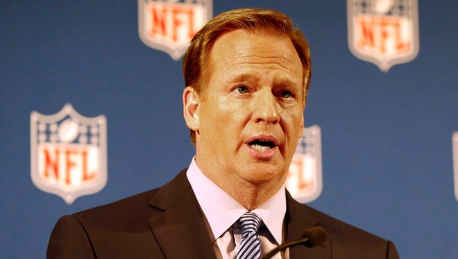 NFL commissioner Roger Goodell addresses the media at a press conference at New York Hilton.