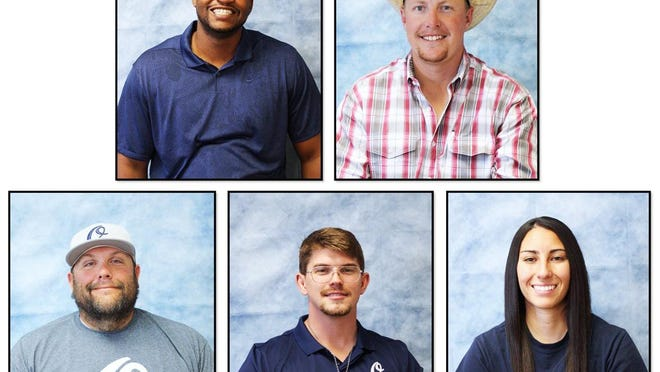 The Otero Junior College welcomed five new assistant coaches to its athletic program. Top ro, from left, Sammy Coleman (men's basketball) and Austin Crist (rodeo). Front row, from left, Nathan Howell (baseball), John Lewis (wrestling) and Alexandria Quintana (softball).