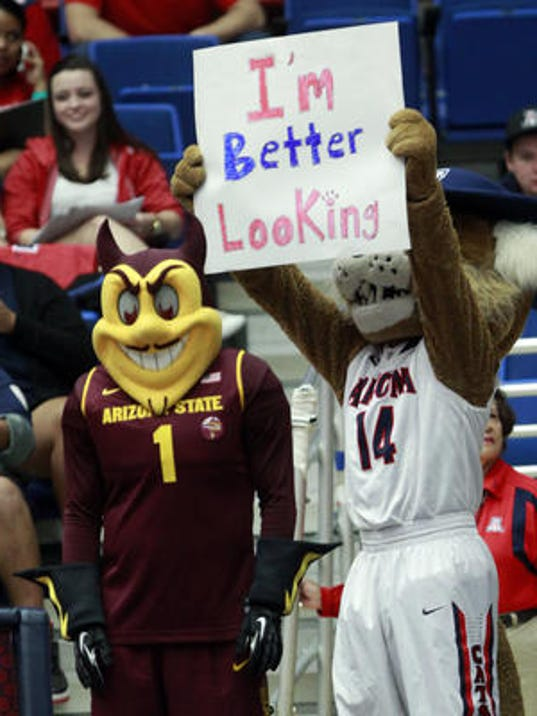 ASU and UA mascots