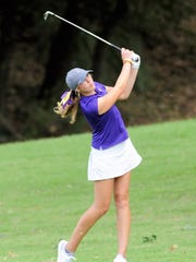 Wylie's Maddi Olson takes a shot from the No. 18 fairway during the first round of the UIL Class 4A state tournament on Monday.