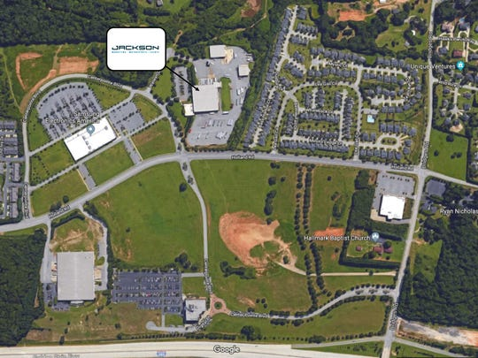 An aerial image shows Jackson Marketing's new site location at BridgeWay Station in Mauldin.