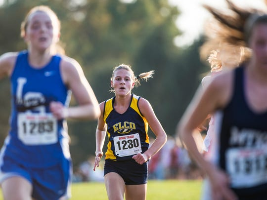 Elco's Lily Brubaker heads towards the finish line for a 19th place finish at the Lancaster-Lebanon League Cross Country meet on Tuesday.