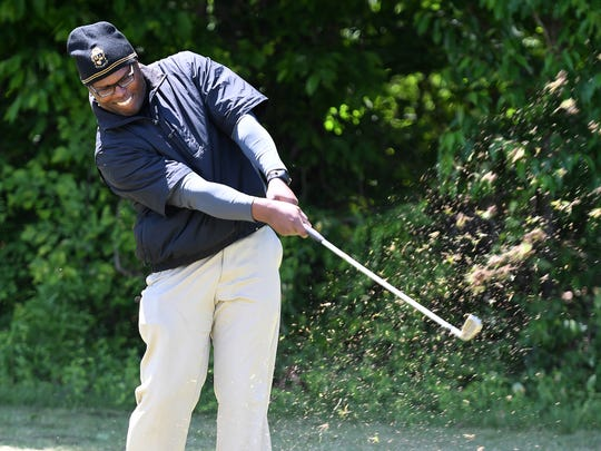 Kevin Hicks tees off during the Alpha Phi Alpha Fraternity, Inc. golf tournament benefiting March of Dimes, Friday, May 5, at Jones Creek Golf Course.