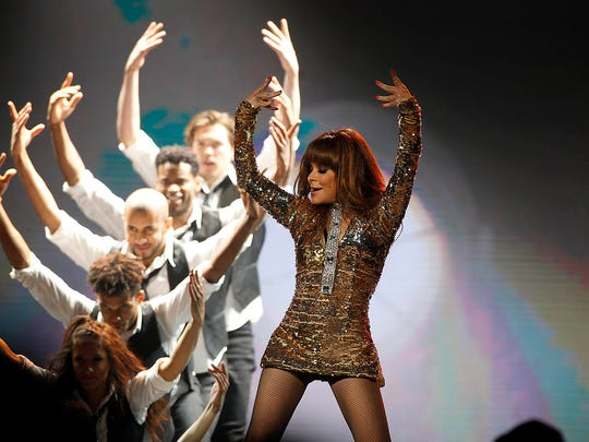Paula Abdul performs during The Total Package Tour