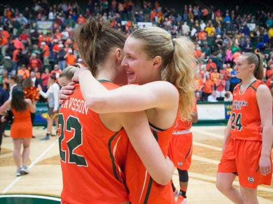 CSU guard Ellen Nystrom hugs teammate Elin Gustavsson following a 61-54 win over Wyoming at Moby Arena on Wednesday, February 15, 2017.
