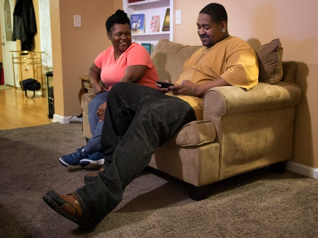 Kennetha and Quentin Patterson enjoy the evening at their home Tuesday, Feb. 21, 2017, in Chapmansboro, Tenn.