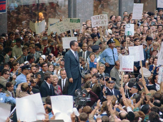 35mm color film negative of Richard Nixon campaigning