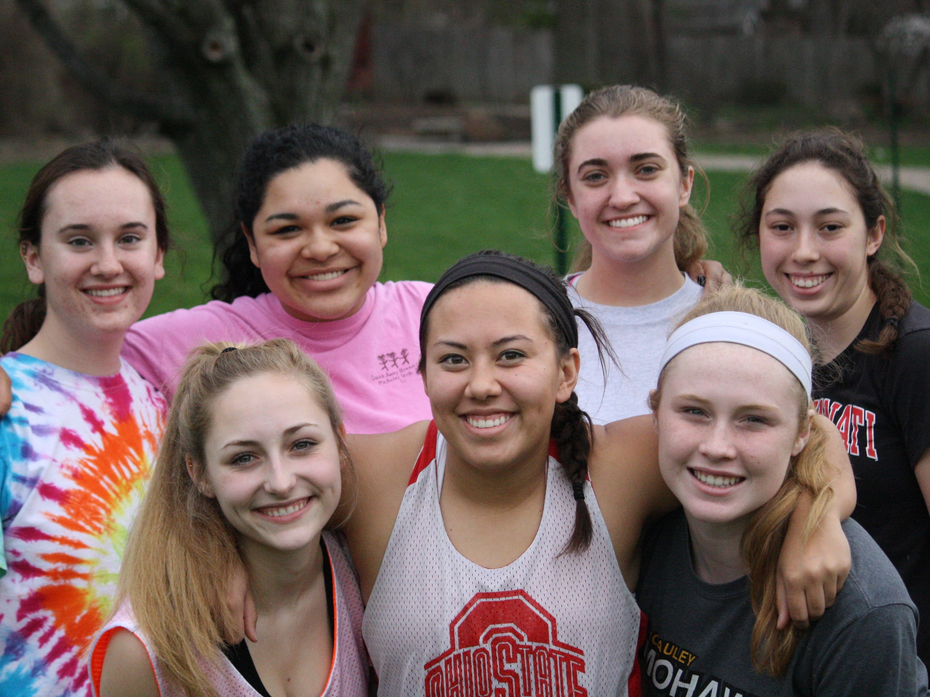 McAuley's 2015 senior lacrosse players from left (in back): Emma Pierani, Osmari Novoa, Emma Curnutte and Maria Koenig; (in front) Jessica Ventura, Bailey Ernst and Kate Calder. Not pictured: Erika Ventura.