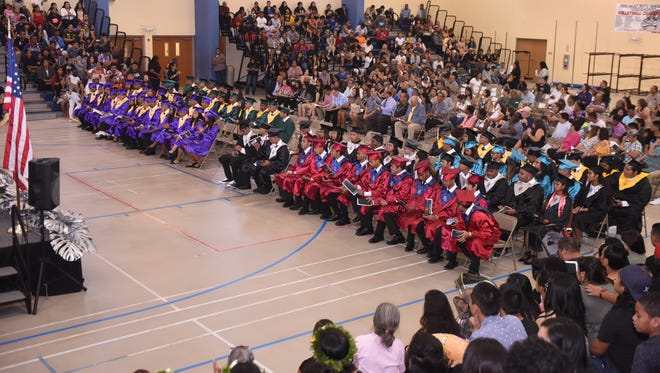 One hundred graduating seniors, from the island's various public high schools, are celebrated during the Summer Rainbow Class of 2017 graduation ceremony at the Okkodo High School gym in Dededo on July 25, 2017.