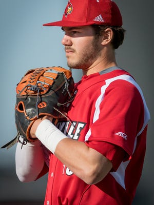 Louisville Cardinal infielder Logan Wyatt (43) during the game played against The Kentucky Wildcats at Jim Patterson Field on the campus of The University of Louisville, in Louisville, Ky, April 17, 2018